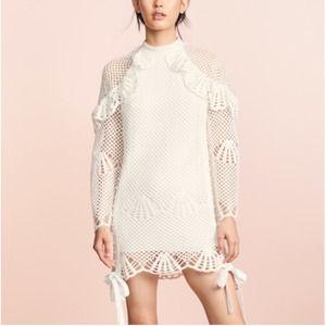 Self portrait high neck crochet dress white 4